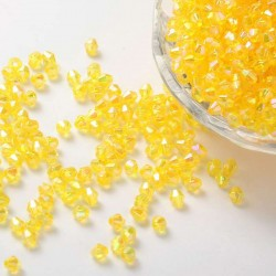 Korálky broušené plast sluníčko 4mm 100ks žlutá s AB