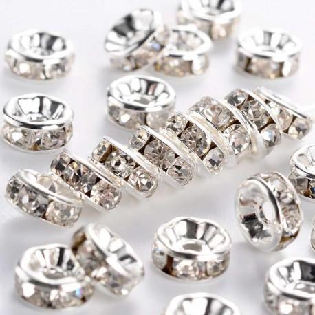 Šatonové rondelky 8x3,5mm 8ks stříbrná,čirá