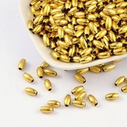 "Korálky ""rýže"" plast 8x4 mm 80ks zlatá"