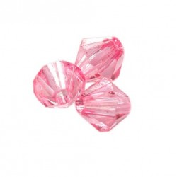 Korálky broušené plast 6mm 50ks růžová
