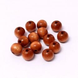 Korálky dřevěné 8mm 25ks oranžovo-hnědá