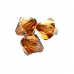 Korálky broušené plast sluníčko 6mm 50ks hnědá