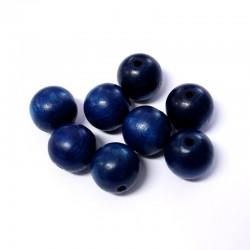 Korálky dřevěné 16mm 8ks modrá tmavá