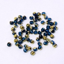 Ohňovky broušené 3mm 70ks modrá, zlatý pokov