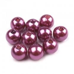 Voskované perličky plast 10mm 15ks fialová