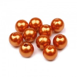 Voskované perličky plast 10mm 15ks měděná