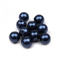 Voskované perličky plast 10mm 15ks modrá tmavá