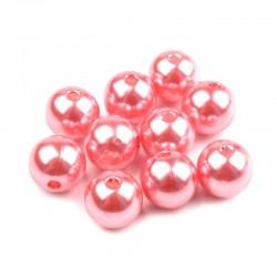 Voskované perličky plast 10mm 15ks růžová světlá