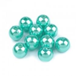Voskované perličky plast 10mm 15ks tyrkysová světlá