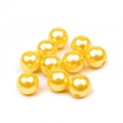 Voskované perličky plast 10mm 15ks žlutá