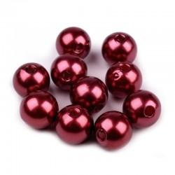 Voskované perličky plast 10mm 15ks granátová
