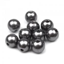 Voskované perličky plast 10mm 15ks šedá