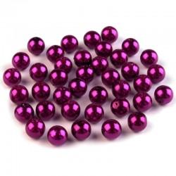 Voskované perličky plast 8mm 20ks burgundská fialová