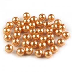 Voskované perličky plast 8mm 20ks zlatá