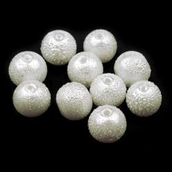 Voskované perle vroubkované 8mm 20ks bílá