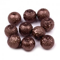 Voskované perle vroubkované 8mm 20ks hnědá