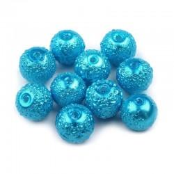 Voskované perle vroubkované 8mm 20ks modrá