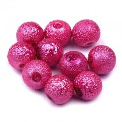 Voskované perle vroubkované 8mm 20ks růžová
