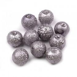 Voskované perle vroubkované 8mm 20ks šedá