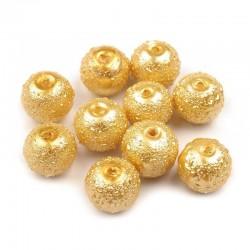 Voskované perle vroubkované 8mm 20ks zlatá