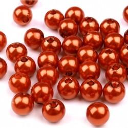 Voskované perličky plast 8mm 20ks měděná