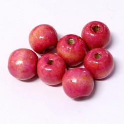 Korálky dřevěné 15x16mm 12ks růžová