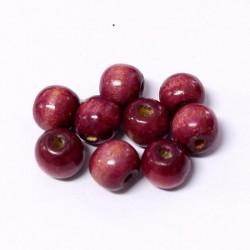 Korálky dřevěné 11x12mm 12ks fialová