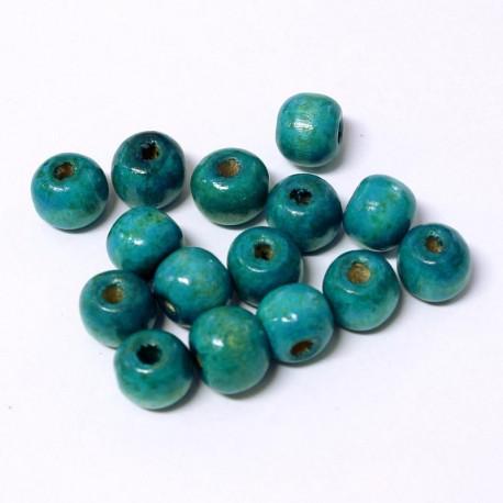 Korálky dřevěné 9x10mm 15ks modrá