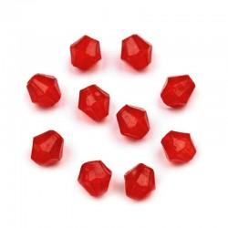 Korálky broušené plast 4mm 200ks červená
