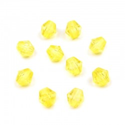 Korálky broušené plast 4mm 200ks žlutá