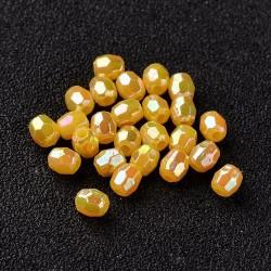 Korálky broušené plast 4mm 100ks žlutá neprůhledná s AB
