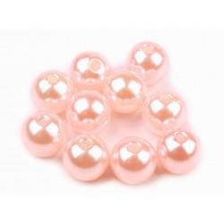 Voskované perličky plast 10mm 15ks růžová lasturová