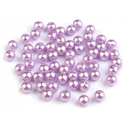 Voskované perličky plast 6mm 50ks fialková světlá