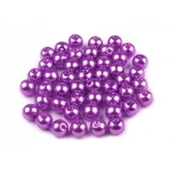 Voskované perličky plast 6mm 50ks fialová zářivá