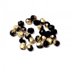 Ohňovky broušené 4mm 50ks černo-zlatá, matná