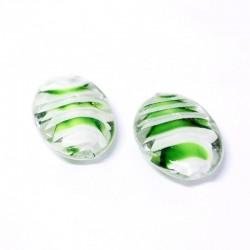 Korálky lampové 25x18mm 2ks zeleno-bílá
