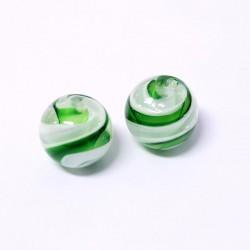 Korálky lampové 16mm 2ks zeleno-bílá