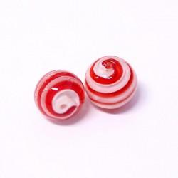 Korálky lampové 16mm 2ks červeno-bílá