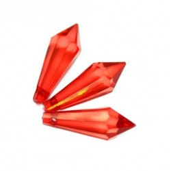 Korálky broušené plast 30mm 6ks červená